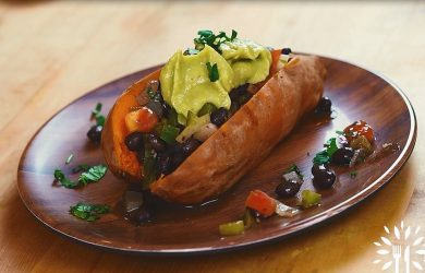 Stuffed Sweet Potato with Avocado Crema